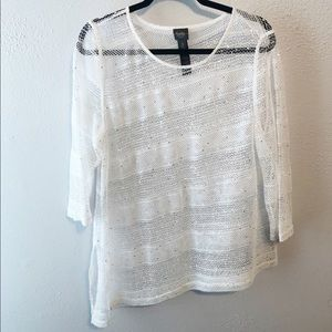 Chico's travelers white lace sequin top size 3